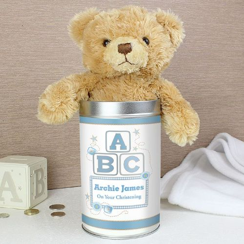 Personalised Blue ABC Teddy in a Tin